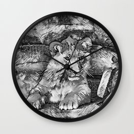 AnimalArtBW_Lion_20171014_by_JAMColorsSpecial Wall Clock