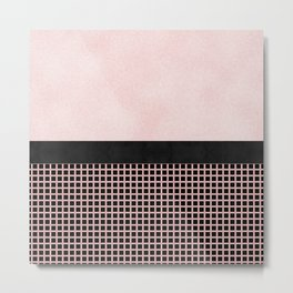 Textured Pink Design With Black Checkered Pattern Metal Print