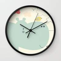 hippy Wall Clocks featuring Hippy Hippo by shiny orange dreams