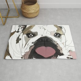 English Bulldog heart shaped tongue Rug