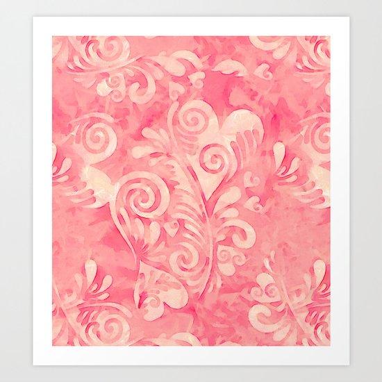 Cute watercolor pink hearts pattern Art Print