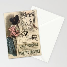 Vintage French linen advertising Stationery Cards