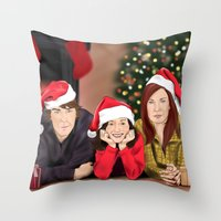 allison argent Throw Pillows featuring Merry Christmas - Argent Family by Finduilas