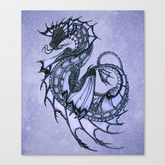 """Tsunami"" by Amber Marine ~ Sea Dragon (Amethyst Version) ~ Graphite/Charcoal Illustration, (c) 2005 Canvas Print"