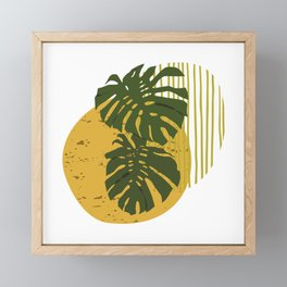 The Two Twin Leaves, Abstract Art Tropical Leaves, Summer Illustration Framed Mini Art Print