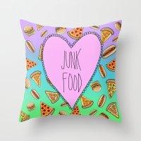 junk food Throw Pillows featuring JUNK FOOD by SteffiMetal