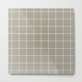Gray Grey Alabaster Grid Metal Print