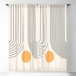 Geometric Lines in Black and Beige 26 (Rainbow and Sun Abstraction) Blackout Curtain