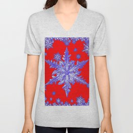 DECORATIVE PURPLE TINTED SNOWFLAKES ON RED Unisex V-Neck