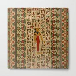 Egyptian Mut Ornament on papyrus Metal Print