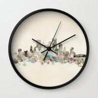 pittsburgh Wall Clocks featuring pittsburgh pennsylvania  by bri.buckley