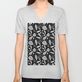 Autumn leaves pattern black Unisex V-Neck