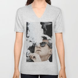 JFK Cigar and Sunglasses Cool President Photo Photo paper poster Color Unisex V-Neck