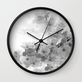 CHERRY BLOSSOMS GRAY AND WHITE Wall Clock