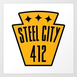 Pittsburgh Steel City Pennsylvania Keystone 412 PGH Pride Art Print