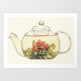 Blooming Flower Tea Watercolour Painting Art Print