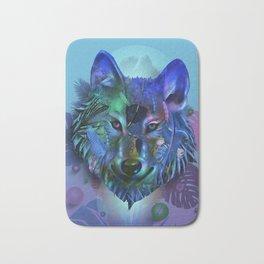 wolf tropical art decor Bath Mat