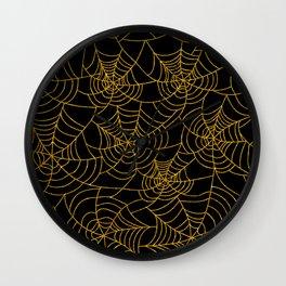 Gold And Black Spiderweb Cobweb Halloween Wall Clock