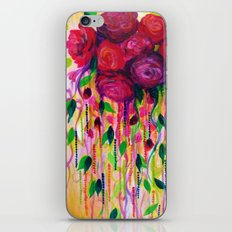 ROSES ARE RAD - Bold Fun Red Roses Floral Bouquet Vines, Flowers Abstract Acrylic Painting Fine Art iPhone & iPod Skin