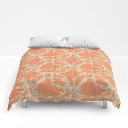 Yellow Flowers on Vines with Pumpkin Orange Background Comforters