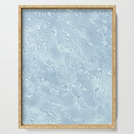 Baby Blue Silk Moire Pattern Serving Tray
