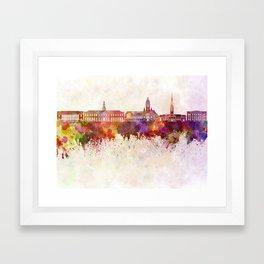 Harvard skyline in watercolor background Framed Art Print