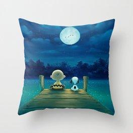 snoopy night moon Throw Pillow