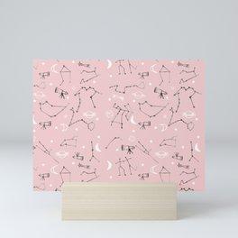 Astrology Pattern Pink #homedecor Mini Art Print