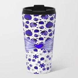 Fancy Blue Ladybugs and Flowers Travel Mug