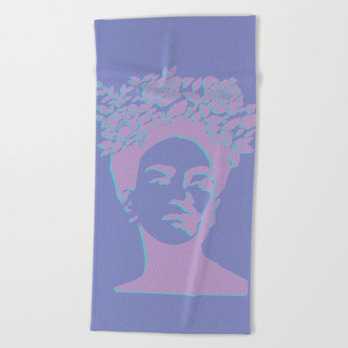 frida kahlo (purple version) Beach Towel