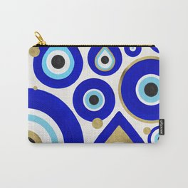 Evil Eye Charms on White Carry-All Pouch