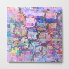 Abstract Anenome Pattern in Purple Pastel Metal Print