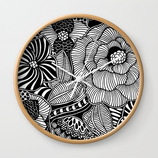 Blooms III Black and White Doodle Art Black Edition Wall Clock