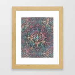 Winter Sunset Mandala in Charcoal, Mint and Melon Framed Art Print