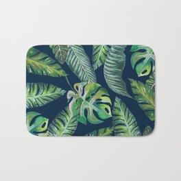 Jungle Leaves, Banana, Monstera, Blue Bath Mat