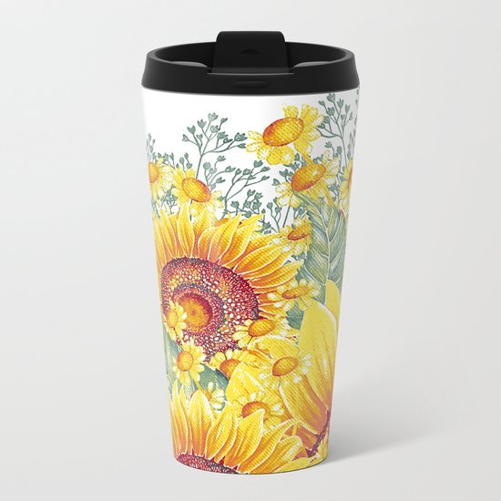 Vintage Garden 15 (Sunflower Field) Metal Travel Mug