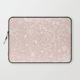 Floral Pattern - White on Pink Laptop Sleeve
