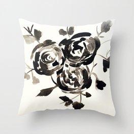 Noir Rose.  Throw Pillow