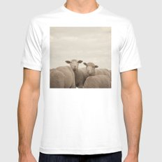 Smiling Sheep  MEDIUM Mens Fitted Tee White