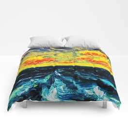 Sky and Waves Oceanic Landscape Painting by Emil Nolde Comforters