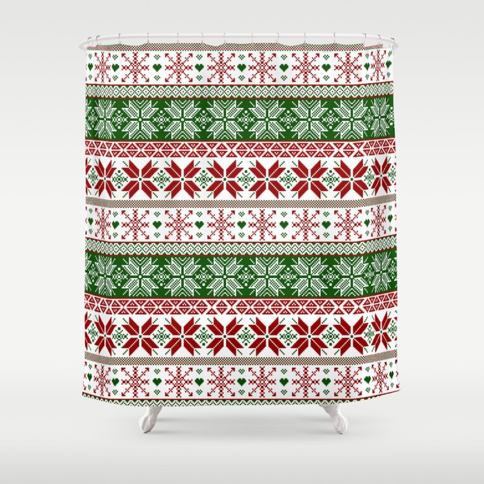 Green & Red Winter Fair Isle Shower Curtain