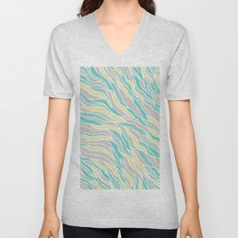 Pastel green teal yellow pink hand painted waves pattern Unisex V-Neck