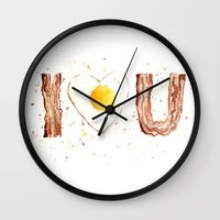 bacon Wall Clocks featuring Bacon by Olechka
