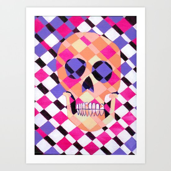 skulladelic pink plaid Art Print