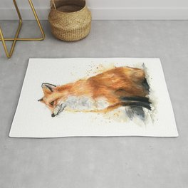 Fox Watercolor Red Fox Painting Rug