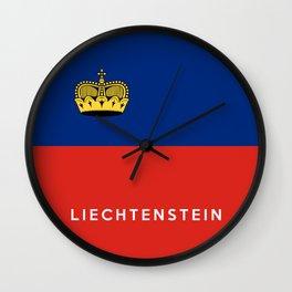 Liechtenstein country flag name text Wall Clock