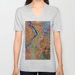 Fluid Copper - Abstract, original, fluid, acrylic painting Unisex V-Neck