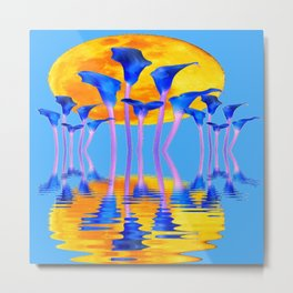 BLUE CALLA LILIES & MOON WATER GARDEN  REFLECTION Metal Print