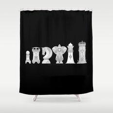 Modernist Chess Shower Curtain