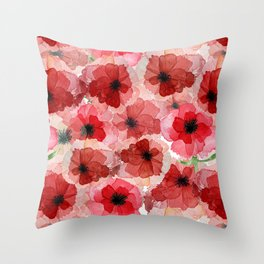 Pressed Poppy Blossom Pattern Throw Pillow